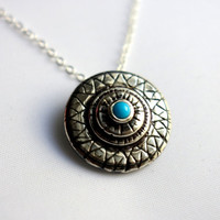 The Chameleon Collection - Hand Carved Sterling Silver Pendant with Turquoise