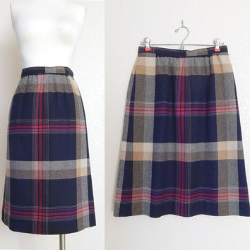 "Vintage 70s High Waisted Plaid Skirt in Navy Blue and Tan - Preppy Knee Length Women's Wool Blend Skirt - Size 8 27"" Waist"
