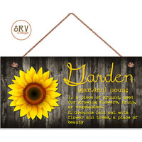 "Sunflower Sign, Garden Sign, Rustic Decor, Flower and Distressed Wood, Weatherproof, 5""x10"" Wall Plaque, Housewarming Gift, Made To Order"