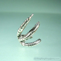 925 Talon claw ear cuff earring jewelry - Sterling Silver earcuff gift for men and women, Right 090812