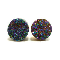 Rainbow Flame Druzy Stud Earrings n29 by AstralEYE on Etsy