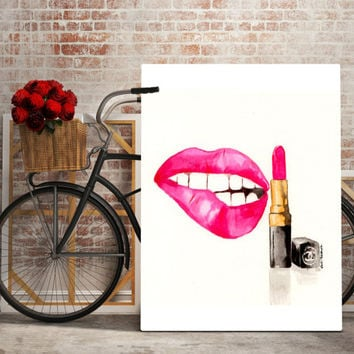 Lips and lipstick, coco chanel lipstick, watercolour art, fashion art, printable art, coco chanel poster print, instant download