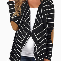 Lady Luck Striped Cardigan Black