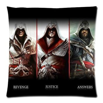Soft Flannel assassins creed Custom Zippered 18x18 (One Side) Square Cushion Cover P1340