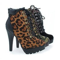 Revenge54 By Anne Michelle, Lace Up Lug Sole Platform Stiletto High Heel Ankle Bootie