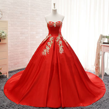 Real Photo Color Wedding Dresses 2016 Long Satin Lace Strapless Plus Size Lace up Red China Cheap Gelinlik Vintage Bridal Gowns