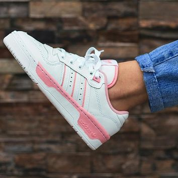 ADIDAS RIVALRY Clover Trending Flat Shoes Classic Sneakers White-pink line
