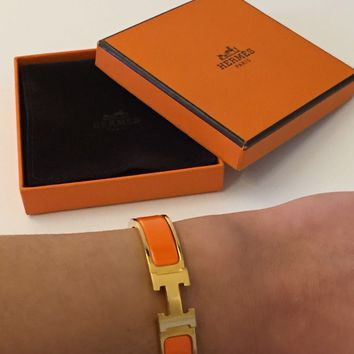 Authentic Hermes Paris Orange Gold Clic Clac Enamel Bracelet H Bangle Size 0