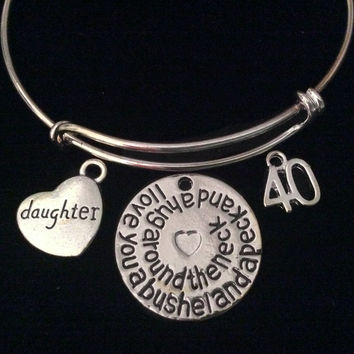 Daughter I Love You a Bushel and a Peck and a Hug Around the Neck Expandable Charm Bracelet Silver Adjustable Bangle Gift