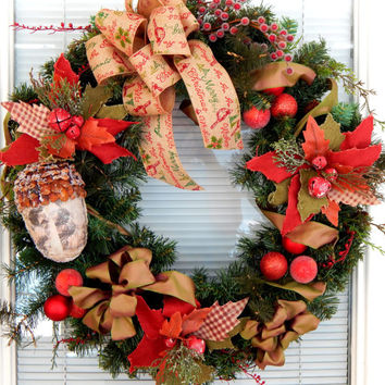 Christmas Wreath- Mountain Rustic Christmas Décor- Front Door Wreath- Holiday Wreath- Christmas Bulb Wreath- Etsy Wreath- Ready to Ship