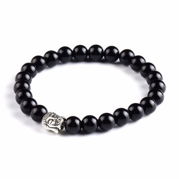 Buddha Natural Stone Beads Bracelet (Black)