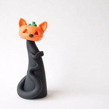 Halloween Pumpkin Black Cat Figurine by Bonjour Poupette