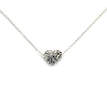 Sterling Silver Pave Puffy Heart Layering Necklace, Custom Sizes, Disco Bling Shamballa Foating Heart Bead Necklace