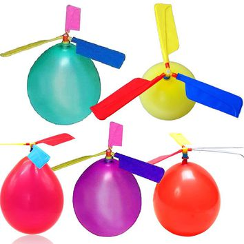 10Pcs Set Balloons Helicopter Flying With Whistle Children Outdoor Playing Creative Funny Toy Balloon Propeller Kid Toys BM88