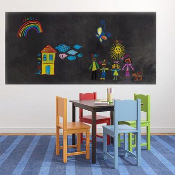 "SALE - BIG 24"" X 40"" Chalkboard vinyl wall decal - Make Your Kids The Perfect Chalkboard Area - Cut It To Any Shape Or Size You Need - ID413"