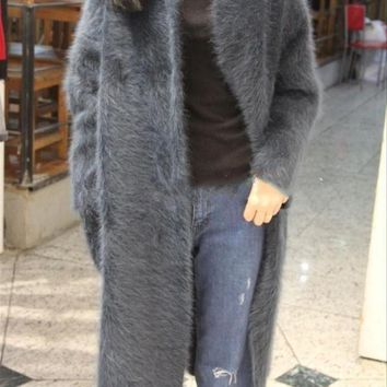 (custom) new natural lady Plush mink cashmere coat thick long cardigan sweater