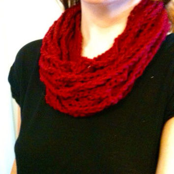 Crochet Chain Scarf Red Crochet Scarf Crochet  Infinity Scarf Crochet Cowl Thick Scarf Warm Scarf Womens Scarf