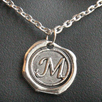 ON SALE Monogram Jewelry, Initial Pendant, Men's Necklace, Alphabet Pendant, Monogrammed Personalized Jewelry, Stamped Necklace, Wax Seal