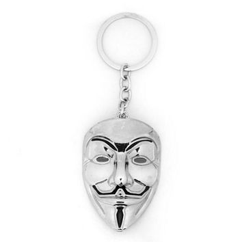 New Design Movie V for Vendetta keychain ANONYMOUS GUY Mask MetalCar Key Chain