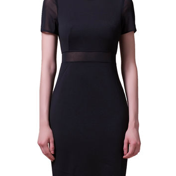 Black Short Sleeve Mesh Sheath Dress