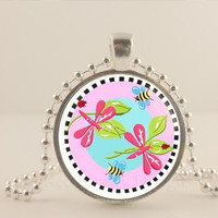 pink Dragonfly and bees glass and metal Pendant necklace Jewelry.
