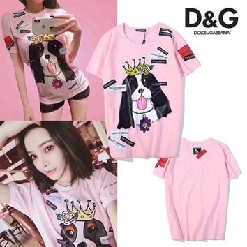 ABDCCK Dolce And Gabbana Pink Dog T-Shirt