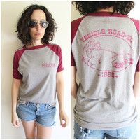 Vintage 1986 Thin Gray and Maroon Contel Vehicle Road-eo Cowboy Roping Van Raglan T Shirt