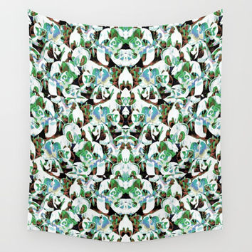 Aztec Floral Pattern Wall Tapestry by ARTbyJWP
