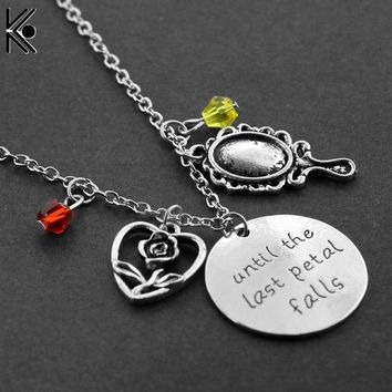 """Beauty and Beast Necklace""""until the last Petal Falls""""Hand carved Letter Pendant with Rose,Mirror with Crystal Charms Necklace"""