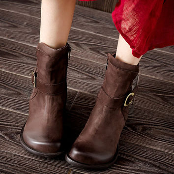 2016Handmade Retro Leather Short Boots for Women Round Toe Flats,Womens Buckle Martin Boots,Fall and Winter Boots,Short Booties Rubber Soles