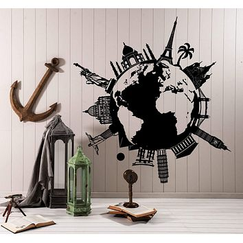Wall Vinyl Decal Map Atlas Of The World Statue Of Liberty Paris New York Decor Unique Gift z4410