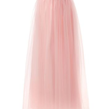 US Women Long Tulle Skirt Maxi Chiffon Petticoat Prom Gowns Two Way Formal Skirt