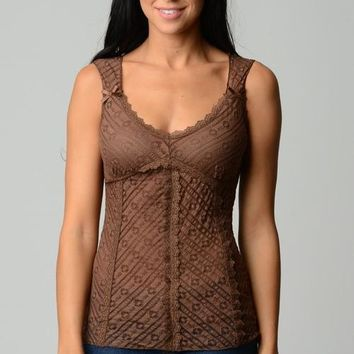 Women's V-Neck Sheer Fitted Lace Tank Top