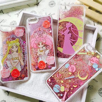 Cartoon Flower Sailor Moon Pretty Girl Glitter Star Flowing Water Liquid Case For iPhone SE 5 5S 6 6S Plus Transparent Cover