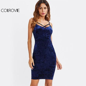 COLROVIE Strappy Cross Club Velvet Dress 2017 Women Royal Blue Fitting Bodycon Slip Summer Dresses Sexy Slim Elegant Midi Dress