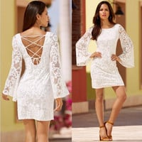 White Halter Cross Back Long Sleeve Lace Dress