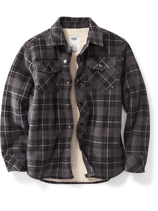 Old Navy Boys Flannel Sherpa Lined Jacket From Old Navy