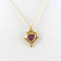 Vintage 14K Gold Pink Tourmaline Pendant Necklace Solitaire Heart October Birthstone Gemstone Sweetheart Bridal Yellow Gold Fine Jewelry