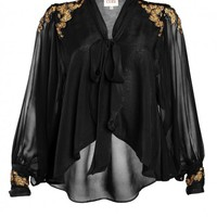 Beautifully hand embellished black with hues of golden metallic beads| This bell sleeved blouse fastens with a pussy bow or can be worn draped open ov