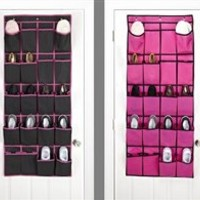 Black & Fuschia Over the Door Shoe Organizer - Dorm Room Door Organizers & Shoe Storage