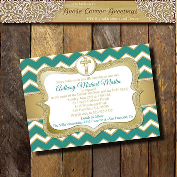 Baptism Invitation LDS Printable Baptism invite Baptism girls Baptism boys Chevron Teal Gold Glitter Digita File Announcement Cross Custom