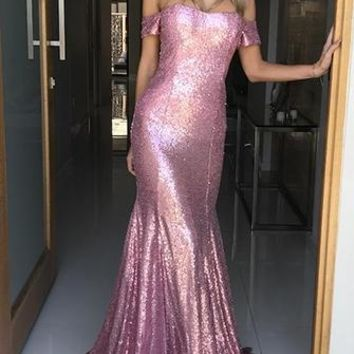 Oh My Pink Sequin Short Sleeve Off The Shoulder Fit and Flare Maxi Dress