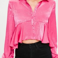 Missguided - Pink Silky Frill Shirt