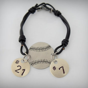Custom Leather Hand stamped Baseball/Softball Bracelet ( Comes with 2 jersey number custom disks)