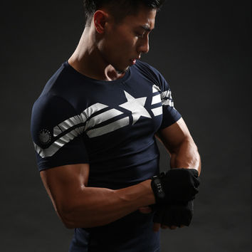 Marvel Fitness Top 3D Printed Captain America T Shirt