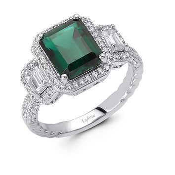 Lafonn Classic Sterling Silver Platinum Plated Lassire Simulated Diamond Emerald Statement Ring (4.37 CTTW)