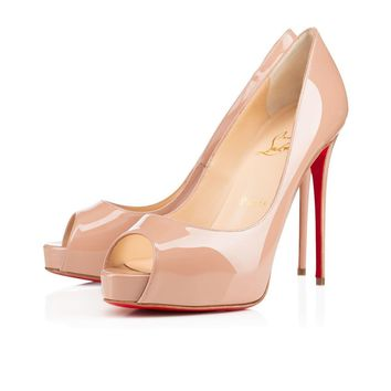 Christian Louboutin Cl New Very Prive Nude Patent Leather Ss15 Platforms 1150600pk1a
