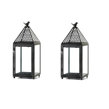 Set of 2 Medium Iron Perch Bird Lanterns