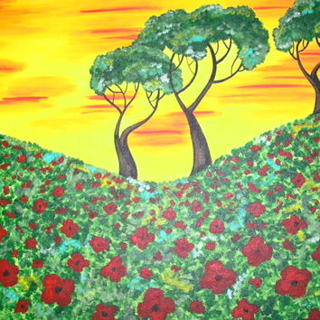 Custom Acrylic Poppy Field and Trees Colorful Painting 9x12 or 11x14 or 16x20 Canvas, Wall Decor, Gift Idea, Nature Art, Wildflower Painting