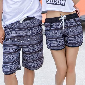H.S.F.Q Summer Hawaii Style Lovers Beach Shorts Couples Quick Dry Art Swimming Surfing Knickers Hot Spring Short Trousers